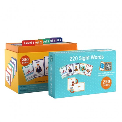 220 sight words & 5 books with box case (Flashcards & Exercise Books)