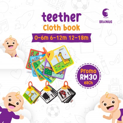 BRAINIUS Teether cloth book suitable for 0-3m, 4-6m, 6 months baby